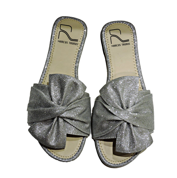 THE BESTSELLER BOW SHIMMER SLIDE - SILVER