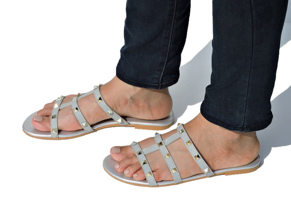Studded Caged Slide Grey