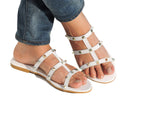 Studded Caged Slide-White