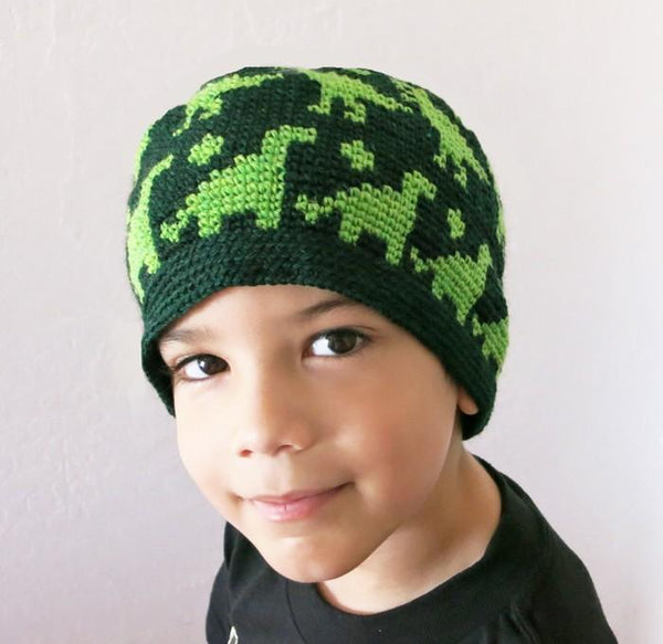All Ages Dino Beanie Crochet Pattern - KNITCRATE