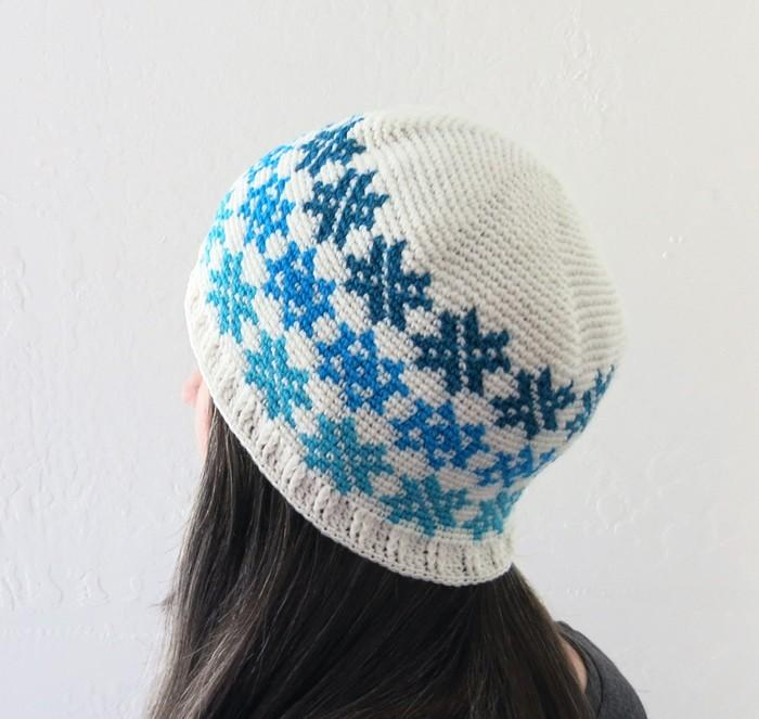 All Ages Falling Snowflakes Beanie Crochet Pattern - KNITCRATE