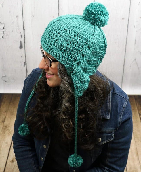 Aspen Cabled Ear Flap Women's Beanie Crochet Pattern - KNITCRATE
