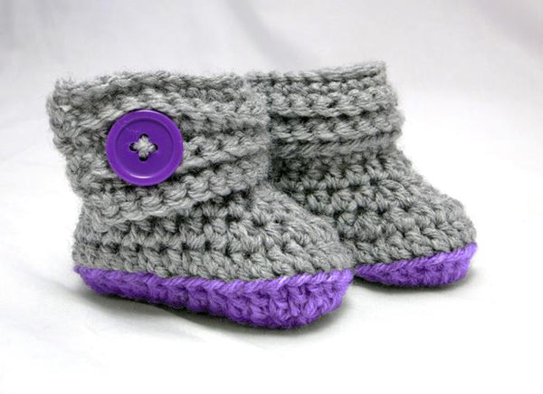 Buttoned Up Baby Beanie and Booties Gift Set Crochet Pattern - KNITCRATE