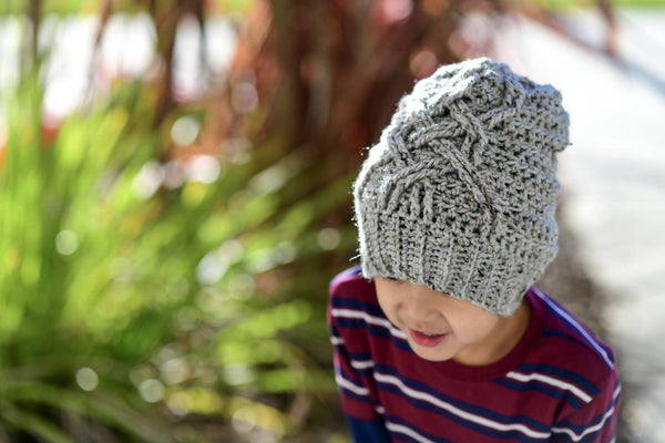 Crochet Celtic Wave Slouch Beanie