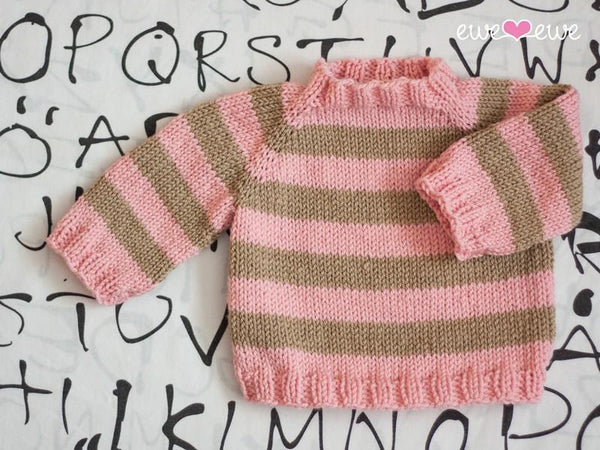 Easy As ABC Top-Down Raglan Baby Sweater PDF Knitting Pattern - KNITCRATE