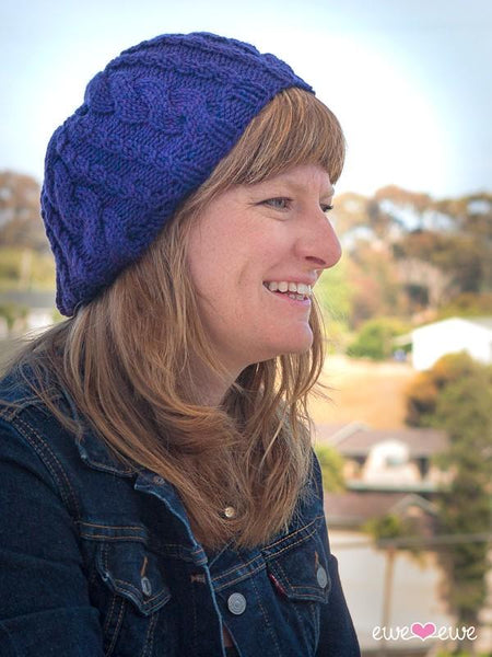 Ewe Ewe Casual Cable Slouch Hat Pattern - KNITCRATE
