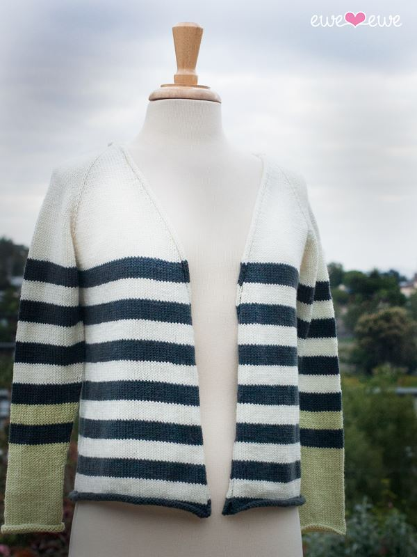 Ewe Ewe Sporty Stripe Cardi Kit - KNITCRATE
