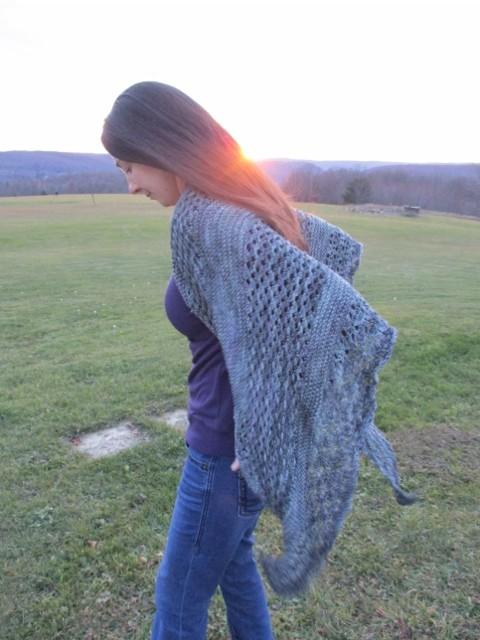 Frozen Ocean Worsted Shawl