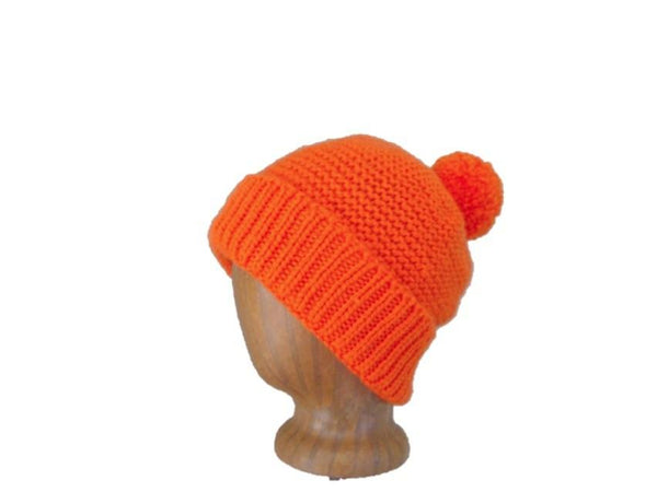 Pom Pom Hat with Brim