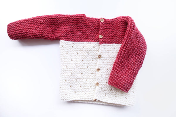 Strawberry Seed Baby Cardigan Knitting Pattern