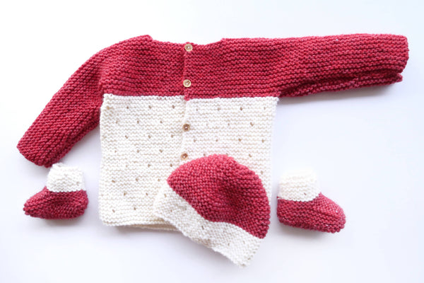 Strawberry Seed Baby Knit Set : Hat, Booties, Sweater and Blanket