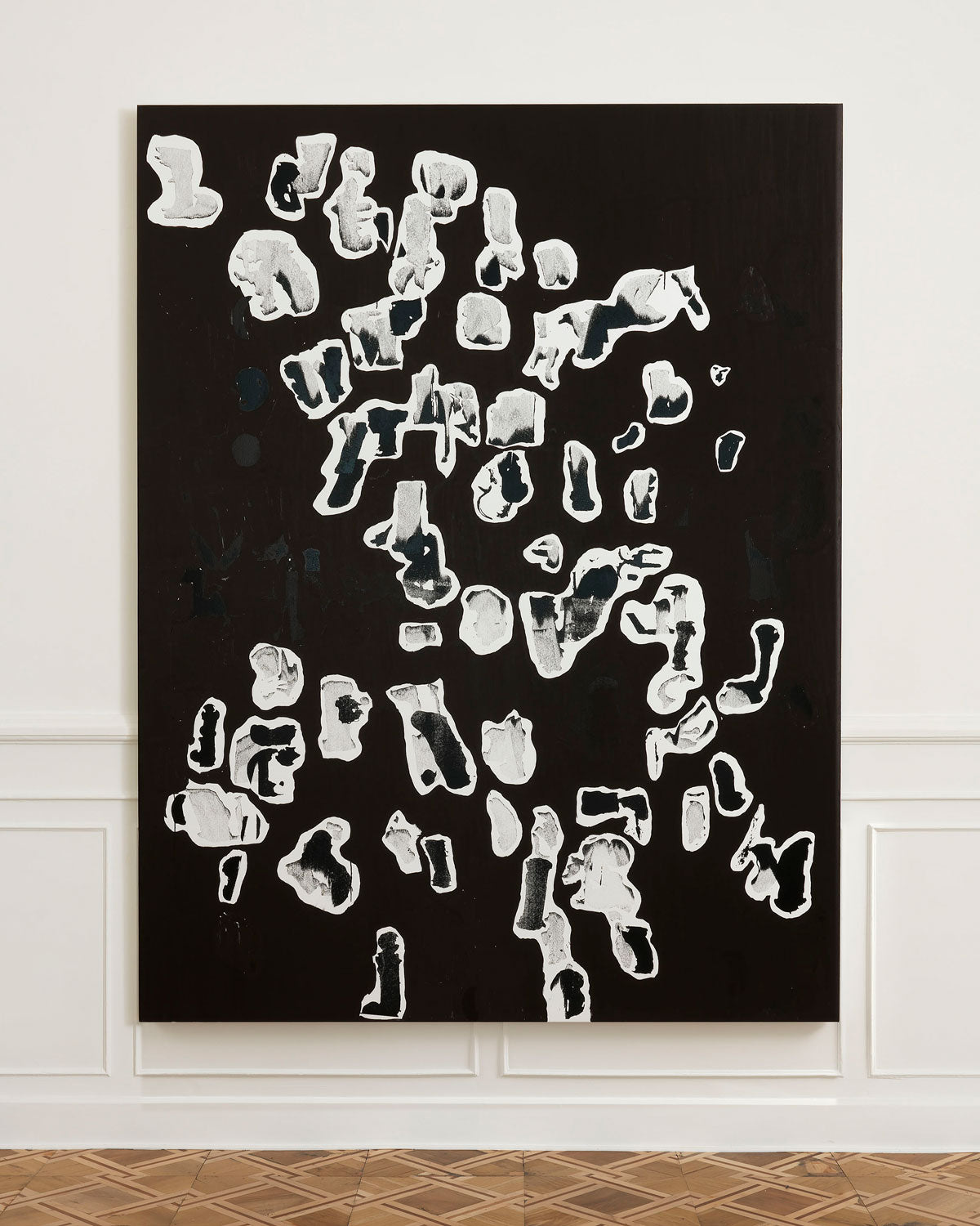 Artist Glenn Ligon uses Krink Paint Marker in new work Debris Field #3, 2018, Etching ink and ink marker on canvas in his solo exhibition at Thomas Dane Gallery in Italy