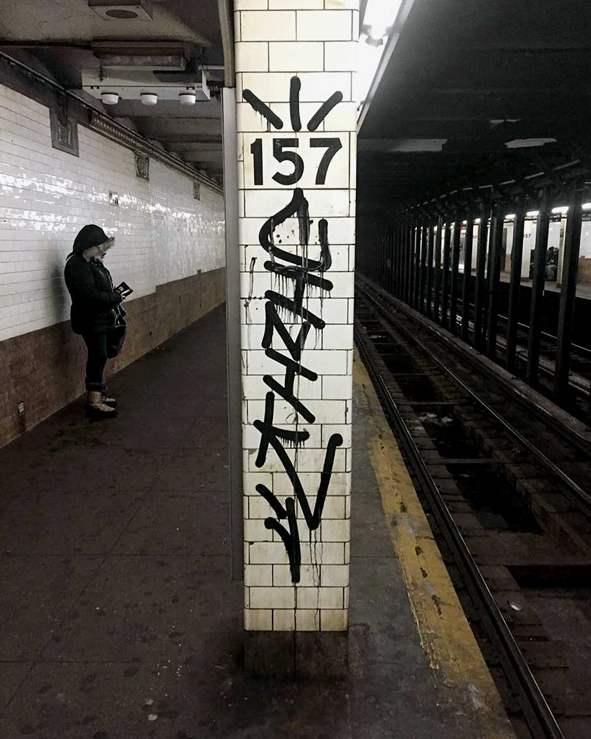 Graffiti artist Cinik handstyle tag spotted at 157 station in NYC