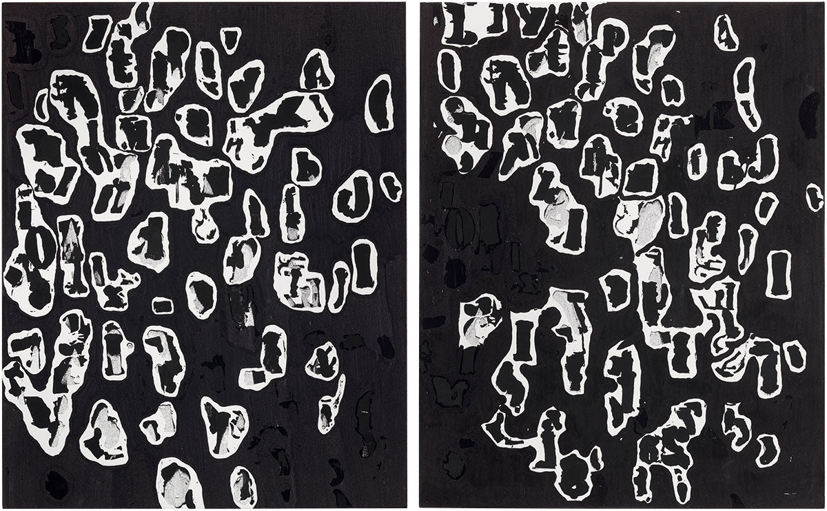 Artist Glenn Ligon uses Krink Paint Marker in new work Study for Debris Field #2 & Study for Debris Field #7, 2018, Etching ink and ink marker on canvas in his solo exhibition at Thomas Dane Gallery in Italy