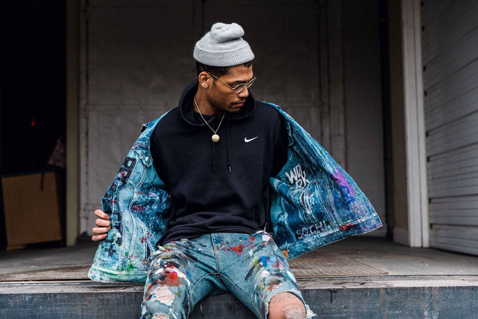 Julian Gaines customizes with Krink in Jordan X Levi's collaboration
