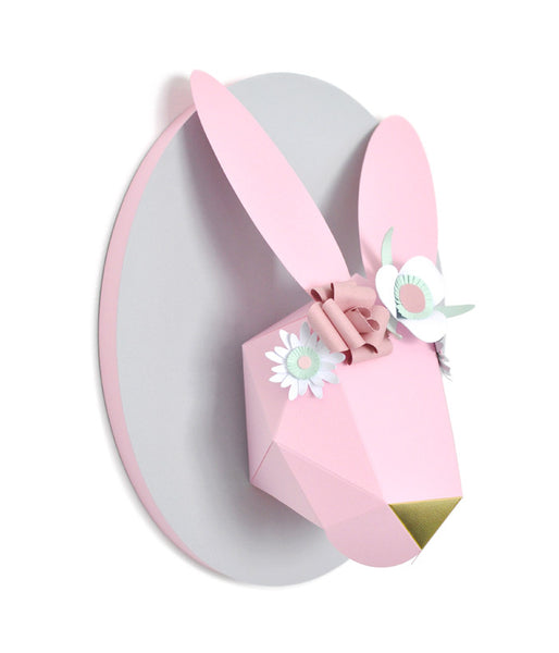 Customer ordered decorated bunny head (pink)