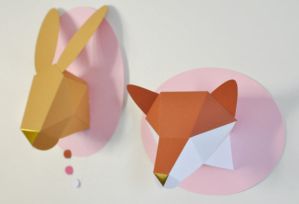 Paper Fox Kit (Rust/White and Pink) -- with Bunny friend