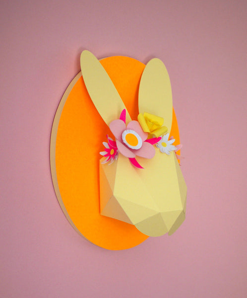 Customer ordered decorated bunny head (yellow)