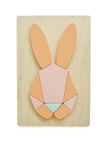 WOODEN BUNNY PUZZLE CORAL