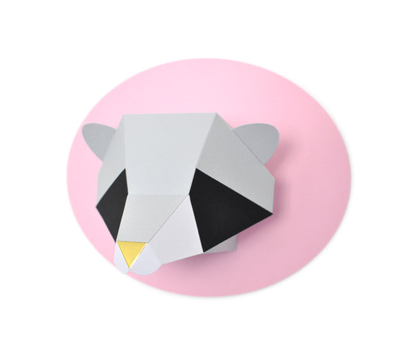 Paper Raccoon Kit (Grey/Black/White and Pink)