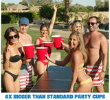 Red Party Cups Pack with 4 XL Pong Balls