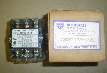 Contactor Interstate Electric CS30A3P-220  208/240 V Coil - 3 - 50/60