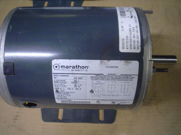 MARATHON Motor Model:5K46MN4087,208-230V, 3Phase,1HP,3.6-3.8/1.9Amp