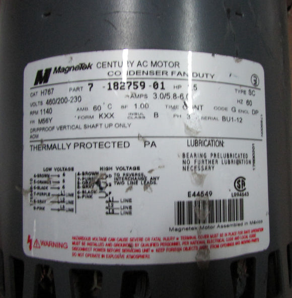 MAGNETEK H767 HP1.5 MODEL 7-182759-01