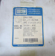 FASCO D6070 PH1 HP1.5 115/230 VOLTS RPM 3450 NEW