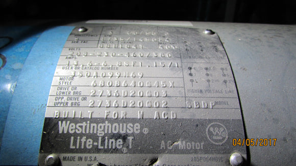 WESTINGHOUSE MOTOR MODEL 680B640G45X TAKEOUT