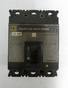 SQUARE D CIRCUIT BREAKER MODEL:FAL32080 240V 3POLE 80AMP