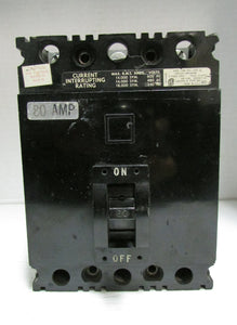 SQUARE D CIRCUIT BREAKER MODEL:FAL36080 80AMP 600V 3POLE