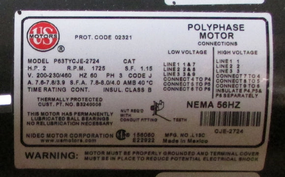 Motor Polyphase P63TYCJE-2724  200-230/460V 2HP PH3 1725RPM