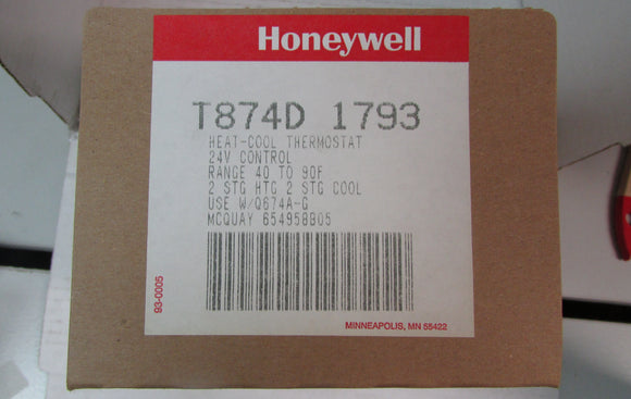Honeywell Heat-Cool Thermostat T874D 1793 - 2 Stage