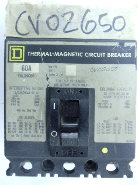 SQUARE D CIRCUIT BREAKER MODEL:FAL34060 480V 6OAMP 3POLE