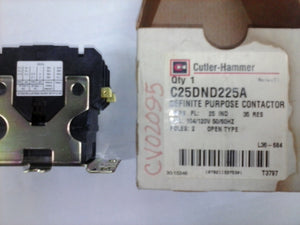Cutler Hammer C25DND225A Definite Purpose Contactor 120V,25Amp,2POLE