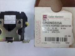 CUTLER HAMMER DEFINITE PURPOSE CONTACTOR Model:C25DND225A,120V,25Amp,2POLE