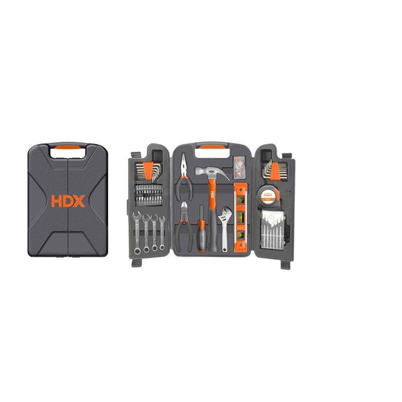 HDX (143-Piece) Home Owners Tool Set - With Ruler, level & Case