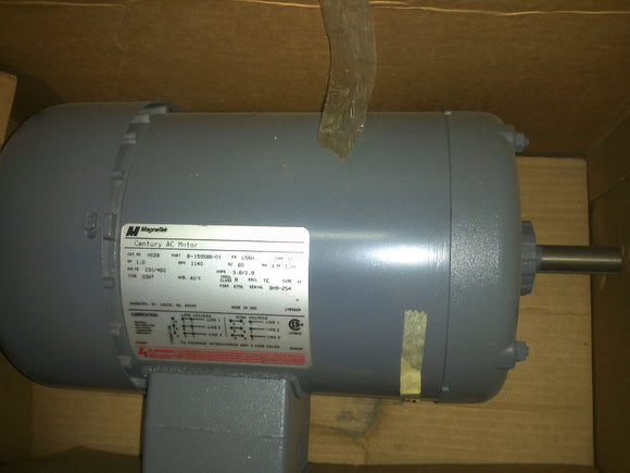 H528 Century Electric Motor 1HP 230 460V 1140 RPM