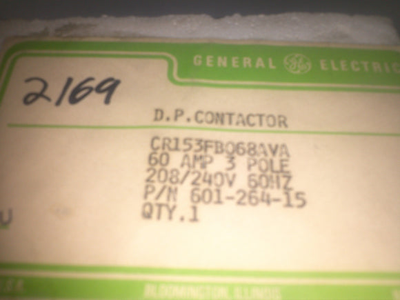 General Electric CR153FB068AVA Contactor AC 240V Coil 3 Pole 60A