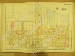 "Plate 32 - New York Bay - Prospect Ave - 17th - 38th St. ++ Brooklyn Original Linen Map 1908 - 22.5"" x 32"""