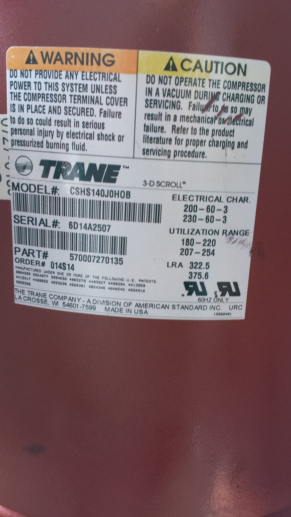TRANE COMPRESSOR MODEL# CSHS140J0HOB   SURPLUS!