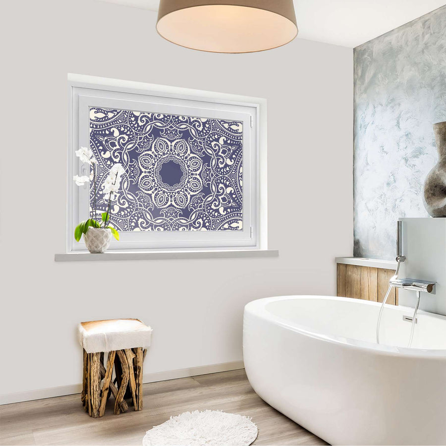 Fensterfolie [quer] - Blue Mandala - 100x70 cm - Bad