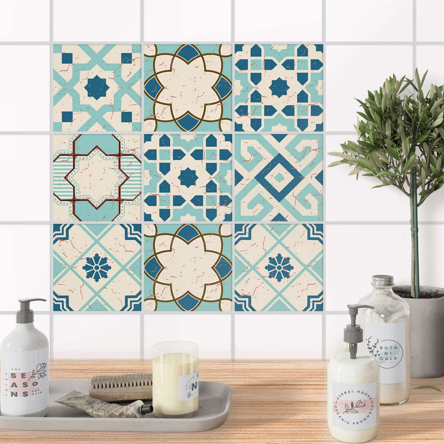 Fliesenaufkleber Bad - Mediterranean Tile Set - Emerald Green