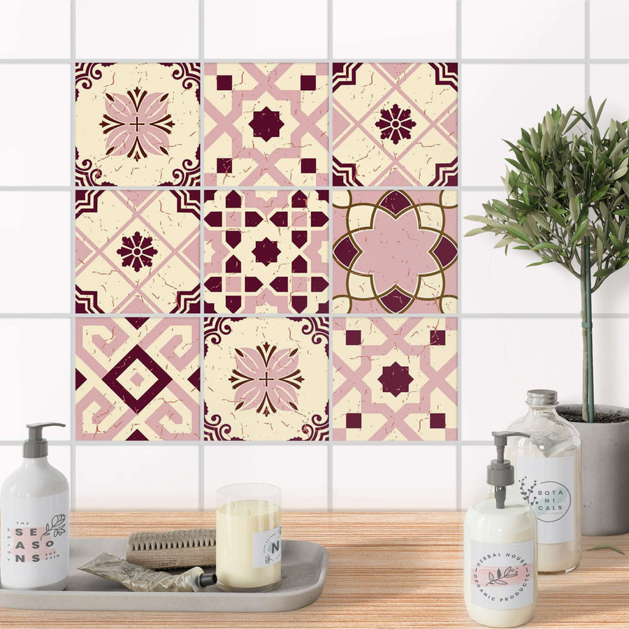 Fliesenaufkleber Bad - Mediterranean Tile Set - Red Purple