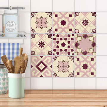 Fliesenaufkleber Küche - Mediterranean Tile Set - Red Purple