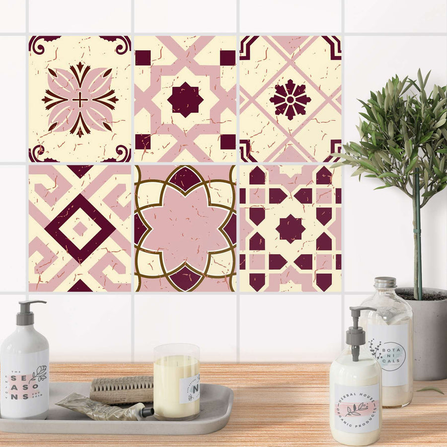 Fliesenaufkleber Set [rechteckig] Bad - Mediterranean Tile Set - Red Purple