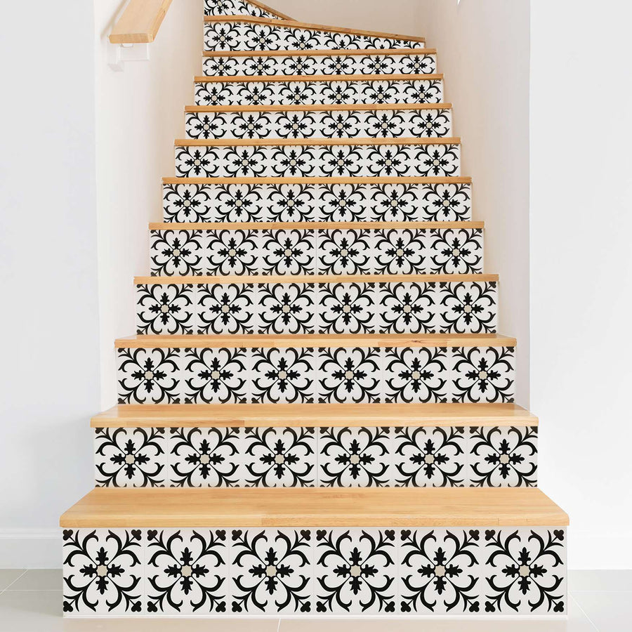 Fliesenaufkleber Treppe - Black Flower Pattern