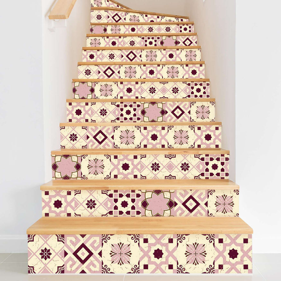 Fliesenaufkleber Treppe - Mediterranean Tile Set - Red Purple