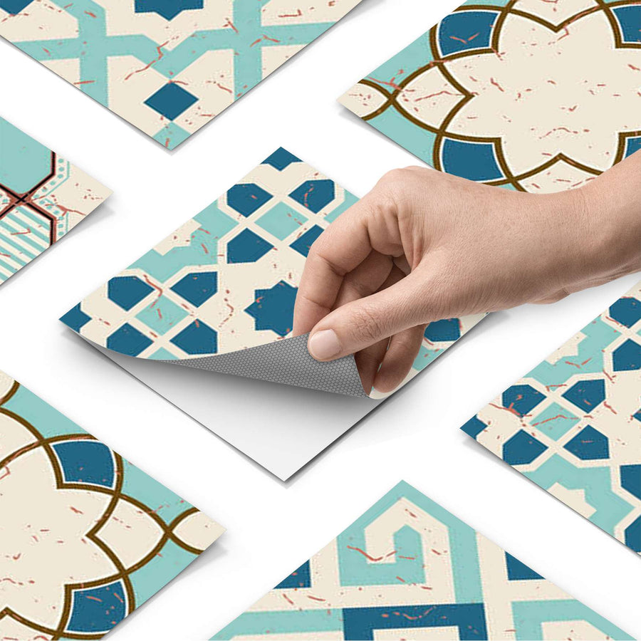 Fliesenfolie - Mediterranean Tile Set - Emerald Green - Do-it-yourself - creatisto